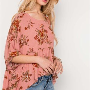 Penelope Floral High Low Top- Peach